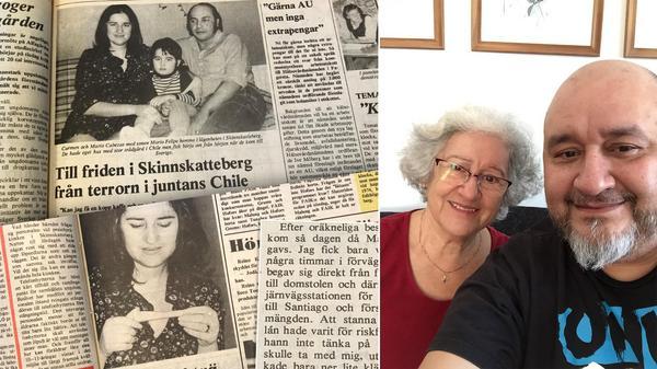 Nästan 50 år har gått sedan Fagersta-Posten intervjuade familjen Cabezas för första gången. Idag bor Carmen och sonen Mario Felipe i Uppsala medan Mario är tillbaka i Chile. Foto: Arkiv och privat