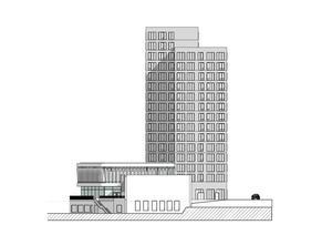 """Plan tre är tänkt att ha en glasfasad, och """"en egen synlig karaktär med evenemangskänsla"""" skriver Stadsrum. Här finns tankar på en konsthall. Illustrationen visar hotellbyggnaden från öster. Skiss: FOJAB/Stadsrum"""