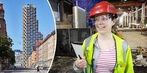 Åsa Andersson, fabrikens kvalitetsansvarige. Hon är civilingenjör i maskinteknik. Betongen i varje golv, tak och vägg provtrycks för hållfasthet.