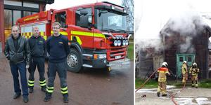 Till vänster: Per-Erik Jonsson i mitten. Till höger: Brandkåren Norra Dalarna under en uttryckning i Norge.