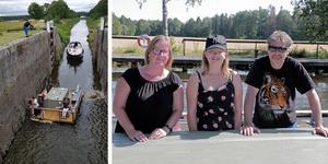 Strömsholms kanal lockar redan båtägare, som Karin Fagerlund, Emma Gillgren och Thomas Gillgren. De åkte från Sundsvall för att slussa sig genom Strömsholms kanal från Borgåsund till Smedjebacken i somras då VLT intervjuade dem. Foto: Arkiv