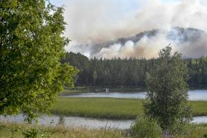 Rök från skogsbranden i Enskogen utanför Ljusdal. Foto: Maja Suslin / TT