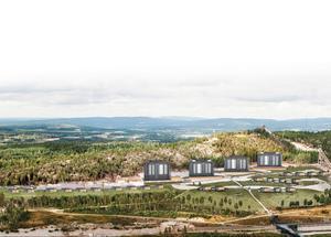 Det finns detaljplan för att bygga ytterligare tre stora lägenhetshus på Kusthöjden, nedanför det som redan står där.  Bild: Örnsköldsviks kommun