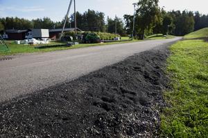 Längs cykelvägen mellan fotbollsplanen och skolan ligger en hel del granulat.