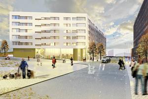Skiss över det framtida hus, sett från norr, som just nu byggs i Orionkullen på Köpmangatans östra sida. Bild: Södertälje kommun/ByggVesta