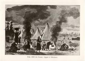 En illustration av hur invånarna fick ta sin tillflykt till områdena runt staden den närmaste tiden efter branden.