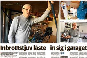 79-årige Inge Wallén blev bestulen när tjuven låste in sig i hans garage. Han är nöjd att tjuven som förnekar brott nu dömts till fängelse.