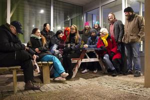 Omkring femton personer som varit aktiva i Maj Generation deltog i torsdagens fackeltåg ner till Stadshuset.