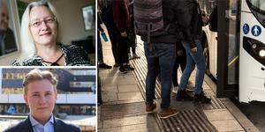 """""""I Borlänge står det fritt att välja skola, men möjligheten till skolskjuts följer inte med valet"""" skriver Agneta Nyvall (M), oppositionsråd och Jesper Lindgren, ordförande MUF Borlänge. Foto DT arkiv/pressbild Moderaterna/montage"""
