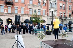 Ebba Busch Thor besökte Sundsvall i torsdag på en valturne inför EU-valet.