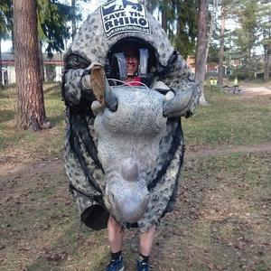 Foto: Privat James Last i sin noshörningkostym.