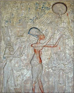 Akhenaton och hans familj tillber solguden Aton.