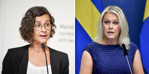 Anneli Bergholm Söder, avdelningschef på MSB, och Socialminister Lena Hallengren (S). Foto: Pontus Lundahl och Jonas Ekströmer