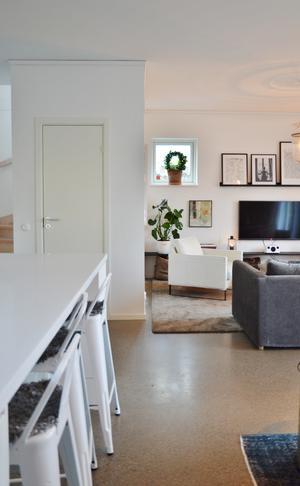 Martin och Emmy valde två basfärger när huset byggdes – grått och vitt. Foto: Anna-Lena Wickman/Anders Holmberg Arkitekter