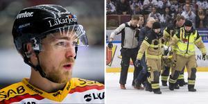 Johan Forsberg och Tobias Forsberg som bärs ut på bår. Foto: Johan Bernström/BILDBYRÅN och Henrik Hansson/TT