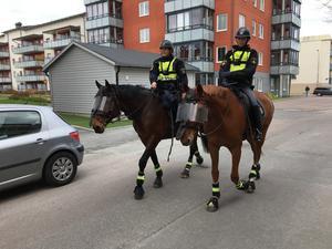 Ridande poliser fanns på plats i Ludvika under 1 maj.