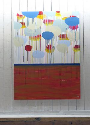 Lisbeth Sjölin målar ofta hus, men blickar ibland även upp mot himlen.