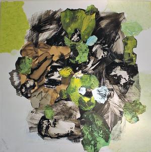 Anna Dellermalms collage  är eftertänksamt uppbyggda.