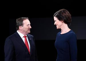 Statsminister Stefan Löfven (S) och Moderaternas förra partiledare Anna Kinberg Batra (M). Foto: Maja Suslin/TT