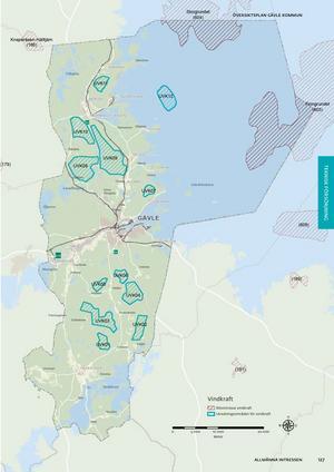 Områden med vindkraftsanknytning inom Gävle kommun. Karta: Gävle kommun