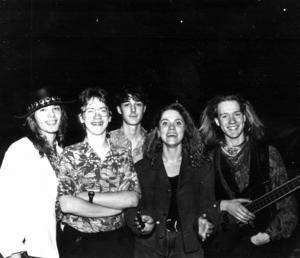 Mångalen 1990. Från vänster, Morgan Nordbakk, Per Björling, Peter Wikström, Anne-Lie Persson och Martin Holmlund. Foto: ÖP:s arkiv