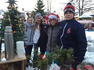 Delar av klass 6 B från Kungsgårdsskolan i Säter som passade på att samla in pengar till sin klassresa i samband med Säters julmarknad.