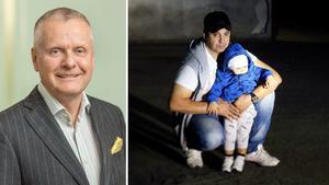 Björn Sundberg, kommunikationschef på D. Carnegie & co, och Ben Taleb med sin ettårige son Adam. Foto vänster: Pressbild, foto höger: Leif Granlind
