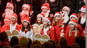 Stora och små tomtar visar charm och lekfullhet i musikklassernas och Sinfoniettans julkonsert i Västerås konserthusFoto: Lennart Hyse