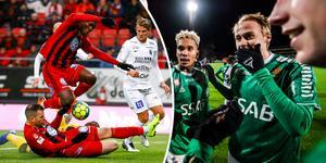 IK Brage inleder hemma mot Mjällby, enligt det spelschema som släpptes under måndagen. Östersunds FK tillhör formellt superettan i dagsläget. Foto: TT (Montage)