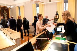 Pressuppbåd i Svea hovrätts lokaler på Birger Jarls torg i Stockholm, inför pressträff där hovrättsdom i mål mot den så kallade kulturprofilen, Jean-Claude Arnault, meddelades .Foto: Fredrik Sandberg