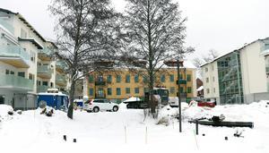 Gamla Strandskolan med sina nya sidobyggnader sedd från sjösidan.