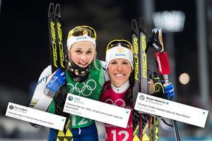 Stina Nilsson och Charlotte Kalla hyllas i sociala medier efter silvret. Bild: Carl Sandin/Bildbyrån/Skärmdump