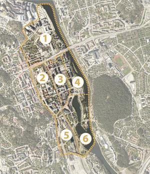 Södertälje stadskärna delas in i olika områden:1. Norra stadskärnan.2. Västra delen (inga planer för detta område i närtid).3. Centrala delen (med gågatan).4. Östra delen (med Orionkullen och Sorbonparkeringen).5. Södra delen (med stationsområdet).6. Maren och Slussholmen (och kanalen).Skiss: Södertälje kommun