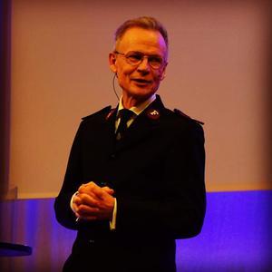 Kjell Karlsten från Frälsningsarmén i Stockholm predikade i gudstjänsten.