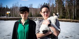 Jennie och Razi Kantorp-Weglin med katten Gizmo framför deras odlingsmark.