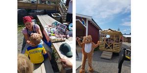 Ansiktsmålning för alla barn och så springer Nallebjörnen lös på gården. Foto: Samstorps gård