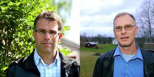 Jonas Åsenius (Mp) och Göran Forsén replikerar på Kjell Persson (S). Foto: Kjell Jansson