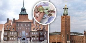 Östersunds rådhus och Stockholms stadshus.