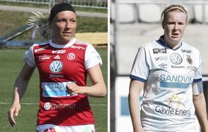 Intressanta derbyspelare. Simone Edefall i Sandvikens IF och Gabrielle Wågström i Gefle IF.