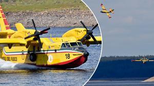 De italienska vattenbombflygplanen har nu tagit sig an branden på Älvdalens skjutfält. De hämtar vatten i Trängsletsjön.