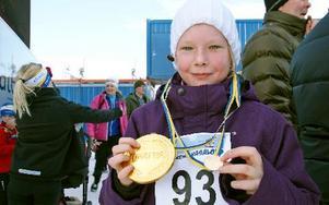 Linnea Eriksson, nio år, körde sitt tredje Barnens Vasalopp. – Roligt, tyckte hon.