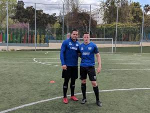 Anton Rajalakso t.v. och Kasper Dahl under träningslägret i Spanien.
