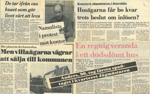 I slutet av 1970-talet stod striden mellan paret Nilsson och Södertälje kommun. 1981 togs det första spadtaget till nybyggena i kvarteret Jägmästaren. Här är några av LT:s alla rubriker från den tiden.