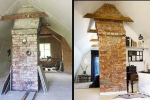 Före och efter – övervåningen med vardagsrum och sovrum från olika vinklar. Till vänster: Det nya vardagsrummet under renoveringen och till höger i bild syns rummet från andra hållet,  mot sovrummet. Foto: Privat och Therese Hasselryd