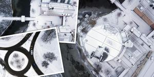 Sundsvall under snön – från ovan.