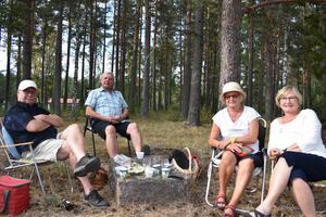 Vännerna Peter Wennerhag, Arne Bjernerud, Monika Bjernerud och Marie-Louise Wennerhag, stortrivs på Picknickfestivalen.