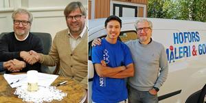Mats Björklund säljer Hofors Måleri AB till Miljönären Måleri AB. På bilden till vänster skakar han hand med Klas Hedlund, styrelseordförande i Mijönären, efter att kontraktet signerats. Till höger med Hossain som han anställde för tre år sedan.  Bild: Miljönären/Arkiv
