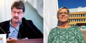 Anders Gäfvert (M) provocerade nya oppositionsrådet Christina Lindberg (C) i kommunstyrelsemötet. Bilder: Gunnar Stattin / Ulf Westman
