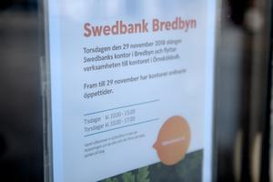 Torsdag den 29 november är Swedbanks sista dag i Bredbyn.
