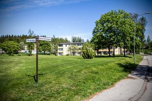På Sotvretsvägen ska radhuset byggas. Ett förslag är den gröna ytan som finns i bakgrunden på bilden, framför flerbostadshuset som är nummer 19.